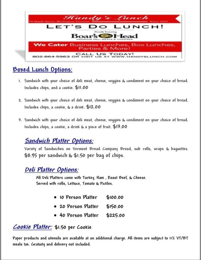 Our Menu Handy S Lunch