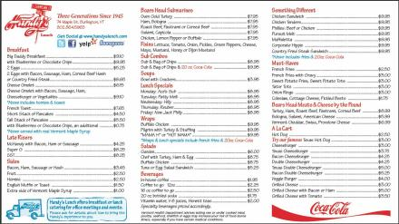 Handy's Breakfast & Lunch Menu